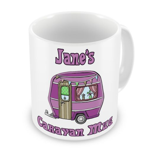 Personalised Caravan Novelty Gift Mug - Pink